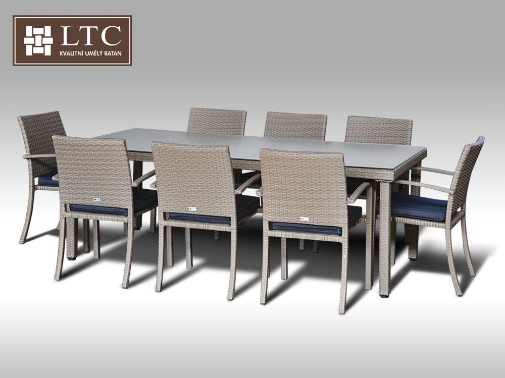 Umělý ratan - jídelní sestava Orlando 220 + 8 židlí Armino šedobéžová + DÁREK