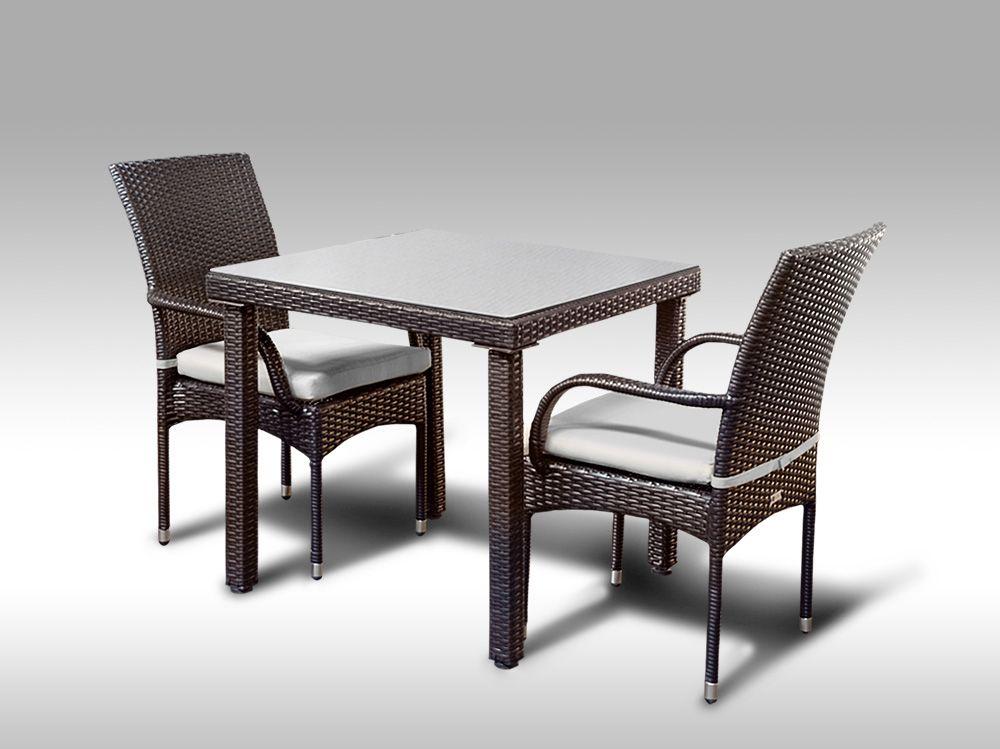 Umělý ratan - jídelní sestava Orlando 80 + 2 židle Pietro hnědá