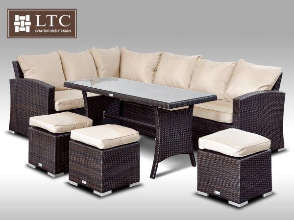 Luxusní sedací a jídelní souprava  PAOLA II 2v1 hnědá 4-7 osob, sv. hnědý polstr + DÁREK