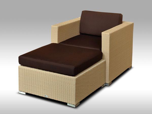 Umělý ratan - luxusní sedací souprava ALLEGRA I písková 1-2 osoby