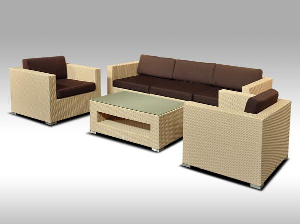 Umělý ratan - luxusní sedací souprava ALLEGRA III písková 5 osob + DÁREK