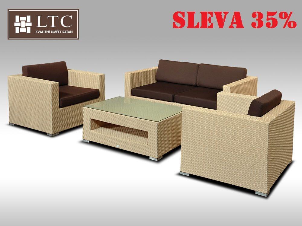 Umělý ratan - luxusní sedací souprava ALLEGRA II písková 4 osoby