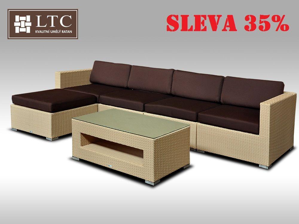Luxusní rohová sedací souprava ALLEGRA IX písková 4-5 osob