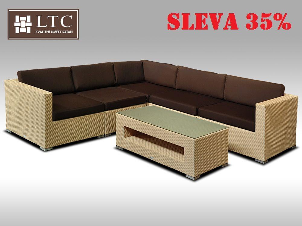 Luxusní rohová sedací souprava ALLEGRA XIII písková 4 osoby