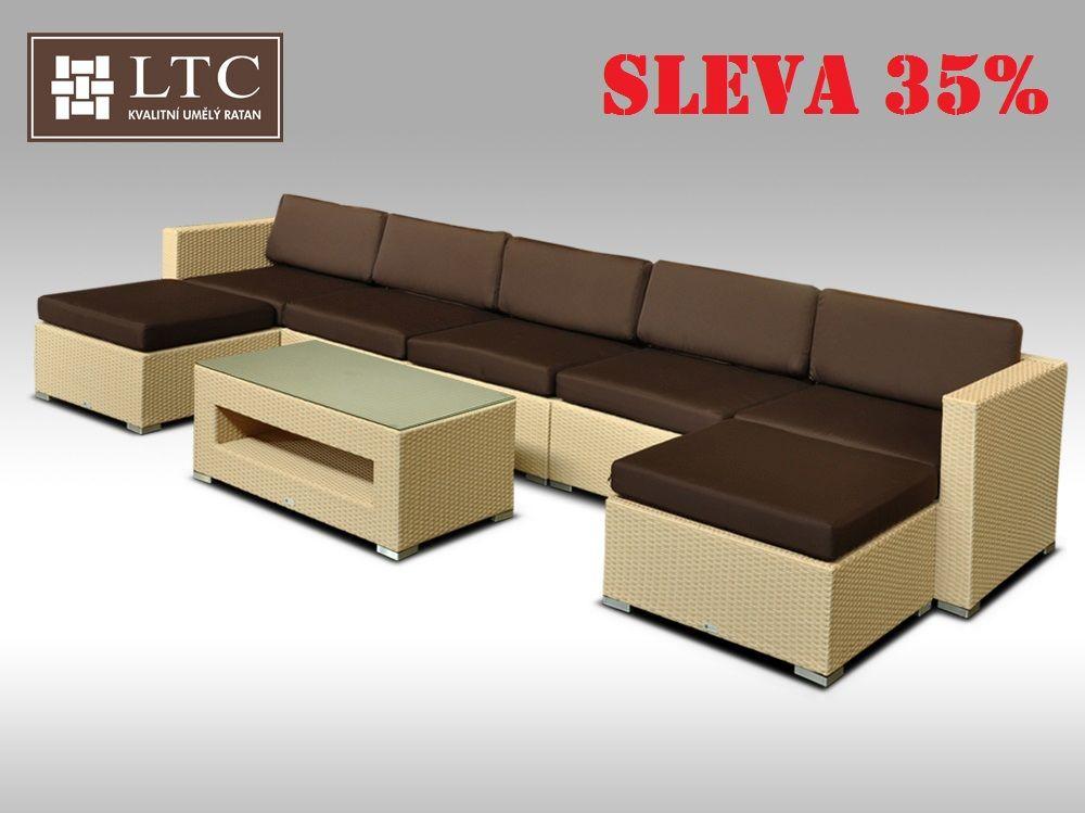 Luxusní rohová sedací souprava ALLEGRA XI písková 5-7 osob