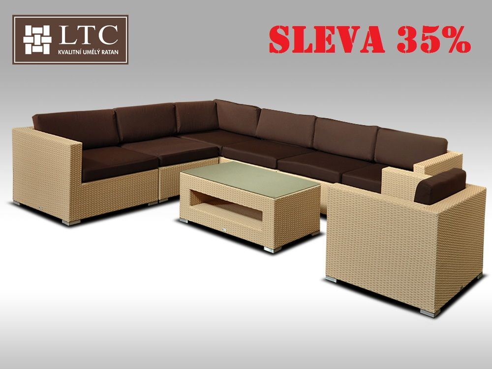 Luxusní rohová sedací souprava ALLEGRA XV písková 6 osob