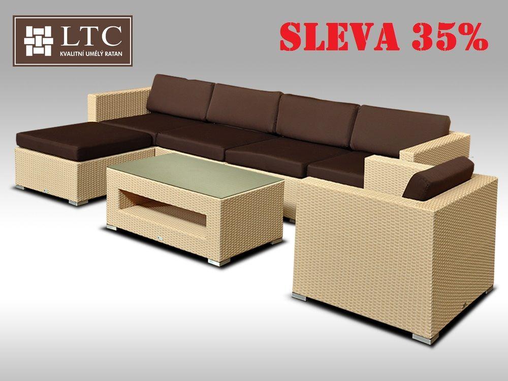Luxusní rohová sedací souprava ALLEGRA X písková 5-6 osob