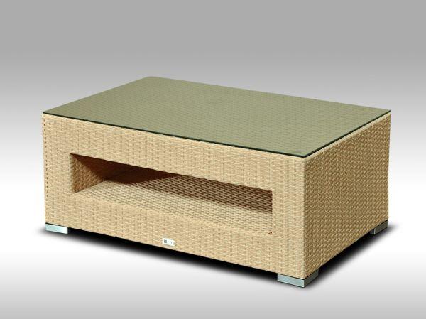 Konferenční stolek z umělého ratanu ALLEGRA pískový