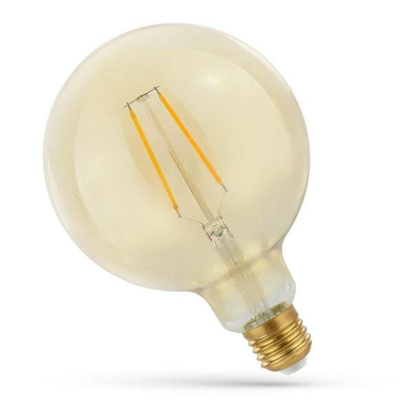 Retro LED žárovka E27 5W 470lm G125 extra teplá, filament, ekvivalent 40W