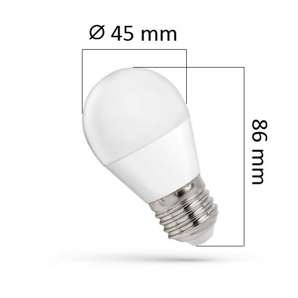 LED žárovka E27 7W 620lm G45 teplá, ekvivalent 50W