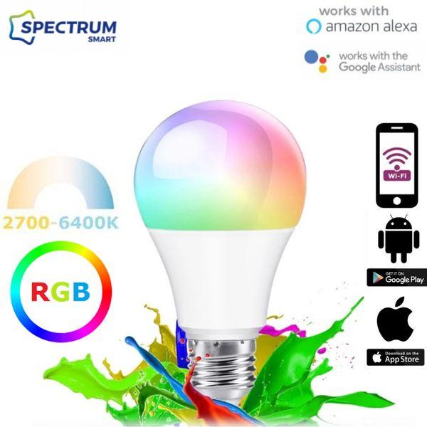 Chytrá LED žárovka E27 9W WIFI RGB + teplá, denní, studená (SMART)