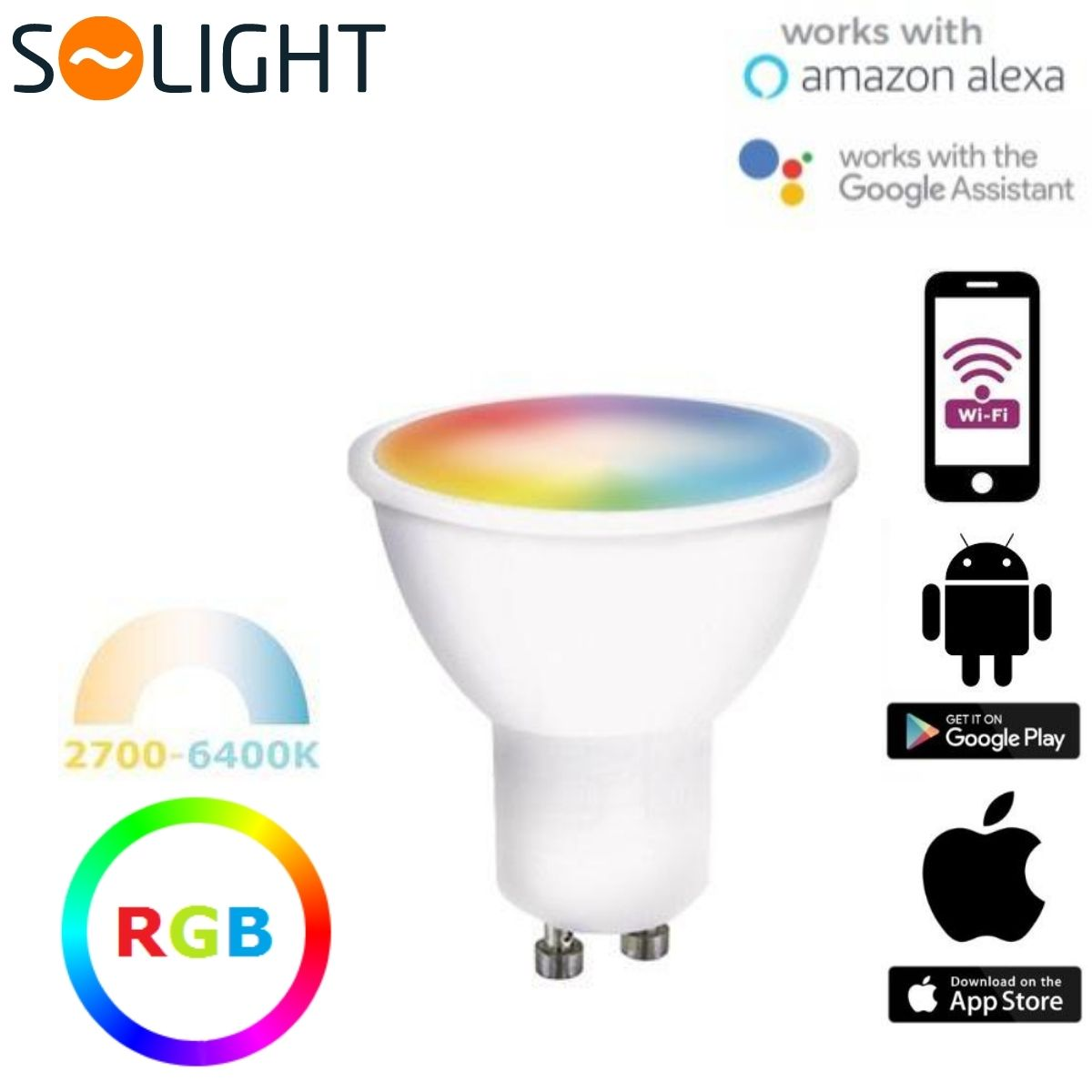 Chytrá LED žárovka GU10 5W WIFI RGB + teplá, denní, studená (SMART)