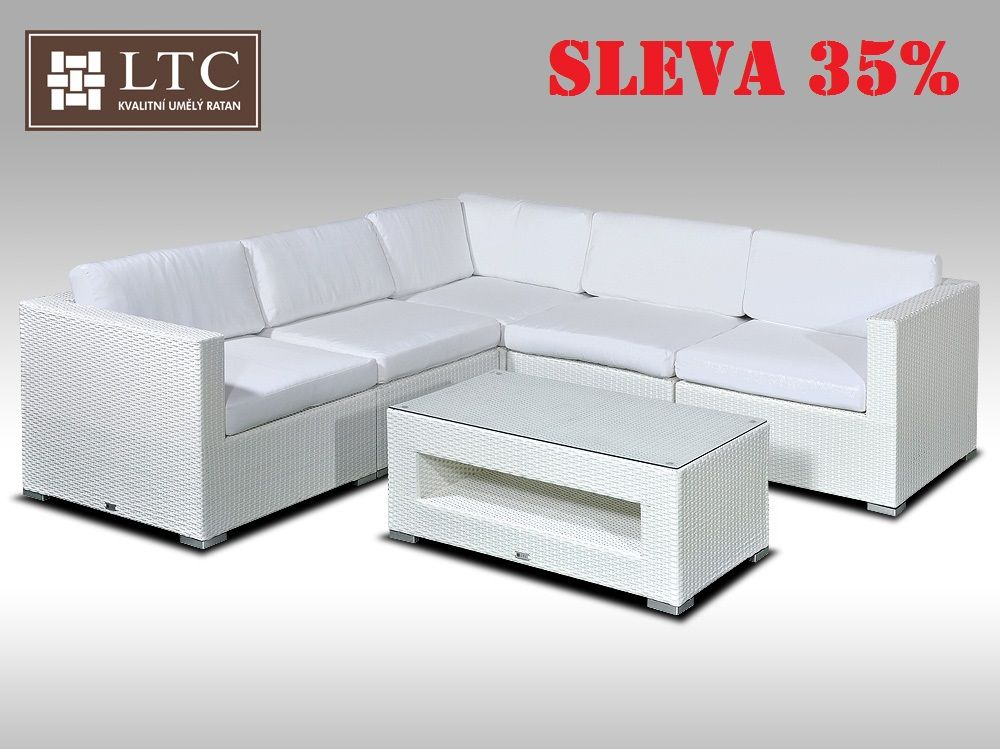 Luxusní rohová sedací souprava ALLEGRA XIII bílá 4 osoby