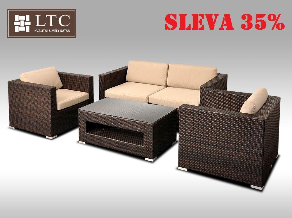 Umělý ratan - luxusní sedací souprava ALLEGRA II hnědá 4 osoby, světle hnědý polstr