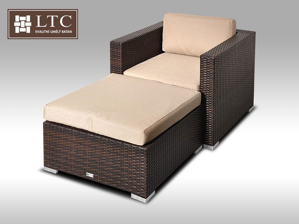 Umělý ratan - luxusní sedací souprava ALLEGRA I hnědá 1-2 osoby, světle hnědý polstr