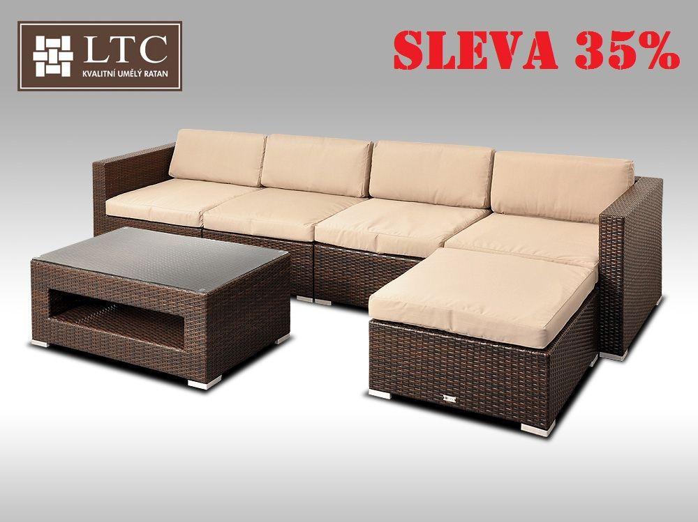 Luxusní rohová sedací souprava ALLEGRA IX hnědá 4-5 osob, světle hnědý polstr