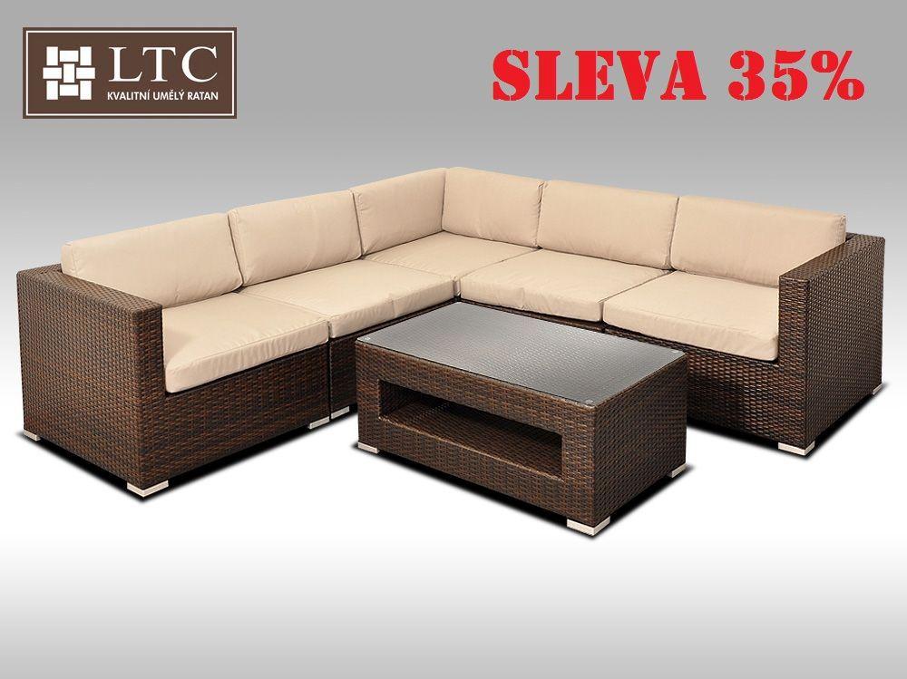 Luxusní rohová sedací souprava ALLEGRA XIII hnědá 4 osoby, světle hnědý polstr