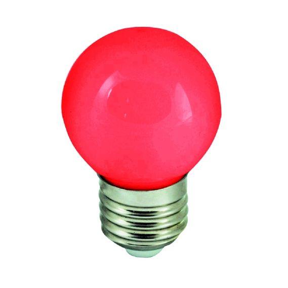 Barevná LED žárovka E27 1W červená