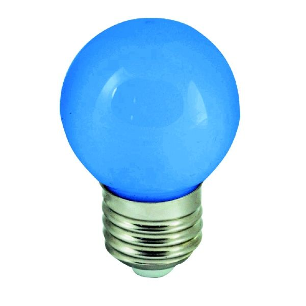 Barevná LED žárovka E27 1W modrá