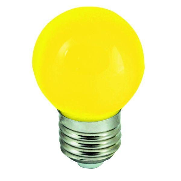 Barevná LED žárovka E27 1W žlutá