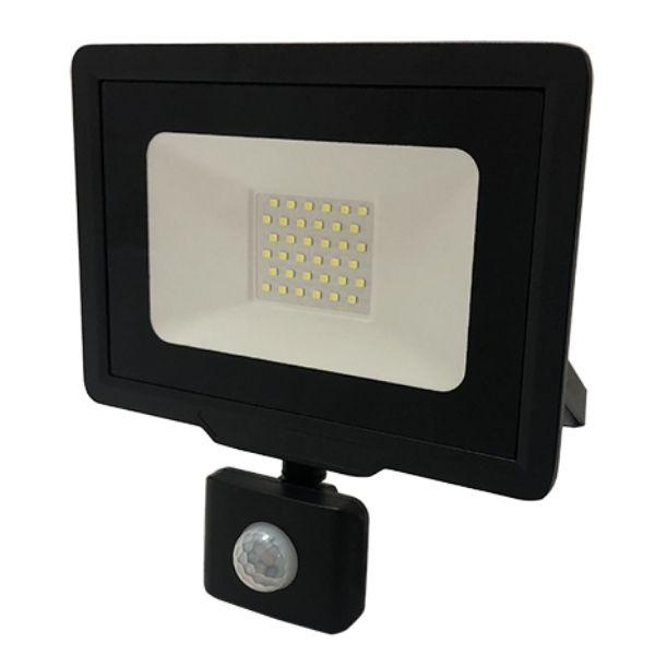 Ultratenký LED reflektor  s čidlem pohybu černý  30W 2400lm teplá