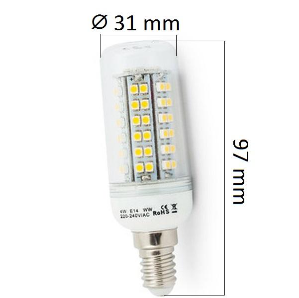 LED  žárovka E14 4W 300lm studená, ekvivalent 31W