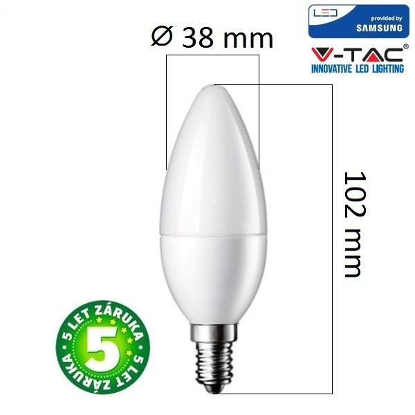 Prémiová LED žárovka E14 SAMSUNG čipy 7W 600lm, denní, 5 let