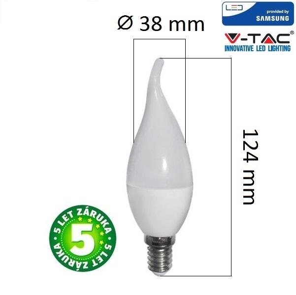 Prémiová  LED žárovka E14 SAMSUNG čipy 5,5W 470lm teplá, 5 let