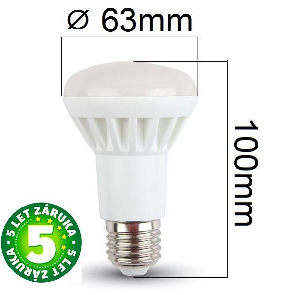 Prémiová LED žárovka E27 SAMSUNG čipy 8W 600lm R63 teplá