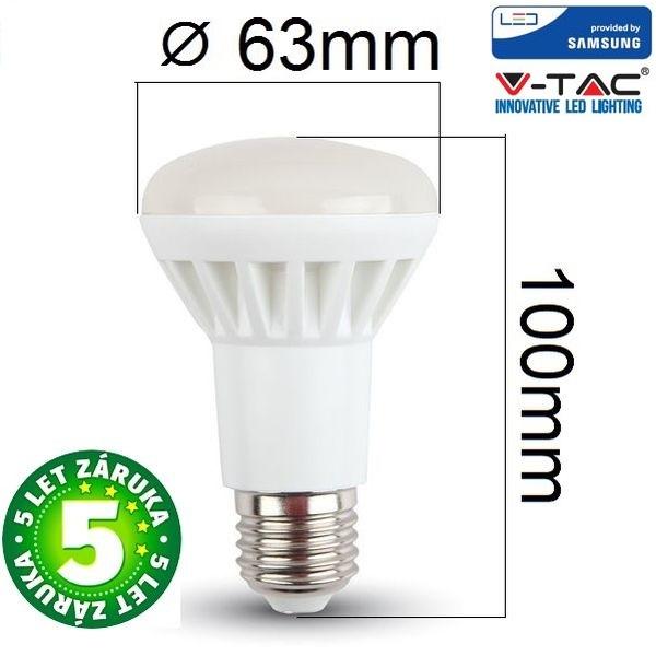 Prémiová LED žárovka E27 SAMSUNG čipy 8W 570lm R63, denní, 5 let