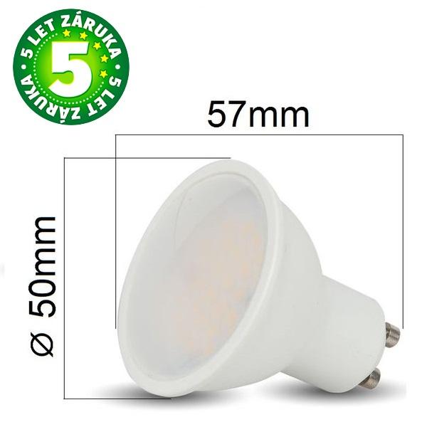 Prémiová LED žárovka GU10 SAMSUNG čipy 5W 400lm, denní