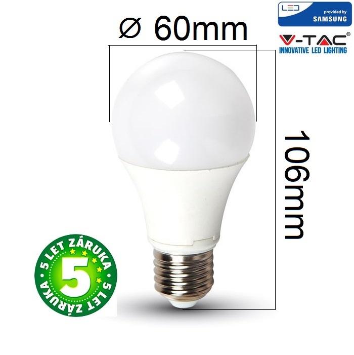 Prémiová LED žárovka E27 SAMSUNG čipy 9W 806lm teplá, 5 let