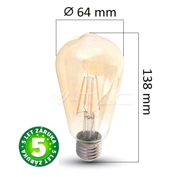 Prémiová retro LED žárovka E27 SAMSUNG čipy 6W 725lm teplá, filament