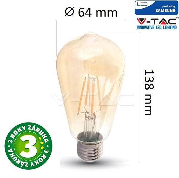 Prémiová retro LED žárovka E27 SAMSUNG čipy 6W 725lm extra teplá, filament, 3 roky
