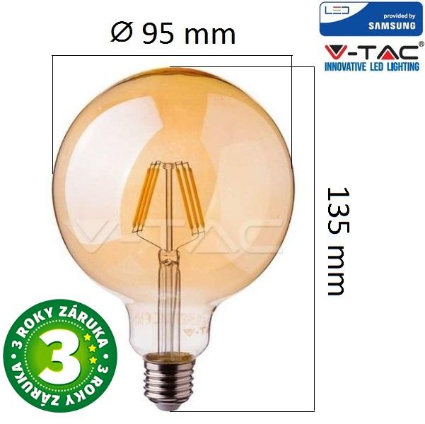 Prémiová retro LED žárovka E27 SAMSUNG čipy 6W 725lm G95 extra teplá, filament, 3 roky