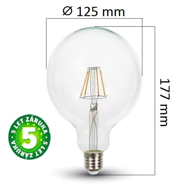 Prémiová retro LED žárovka E27 SAMSUNG čipy 6W 806lm G125 teplá, filament