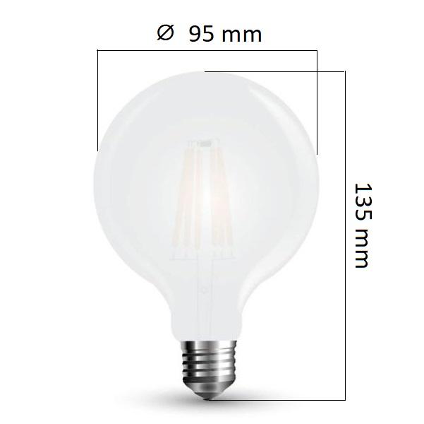 Retro LED žárovka E27 7W 840lm G95 teplá,  filament, ekvivalent 60W