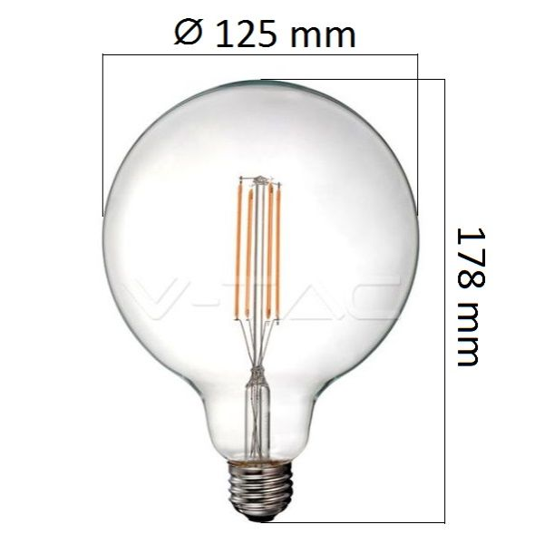 Retro LED žárovka E27 12,5W 1550lm G125 teplá, filament, ekvivalent 100W