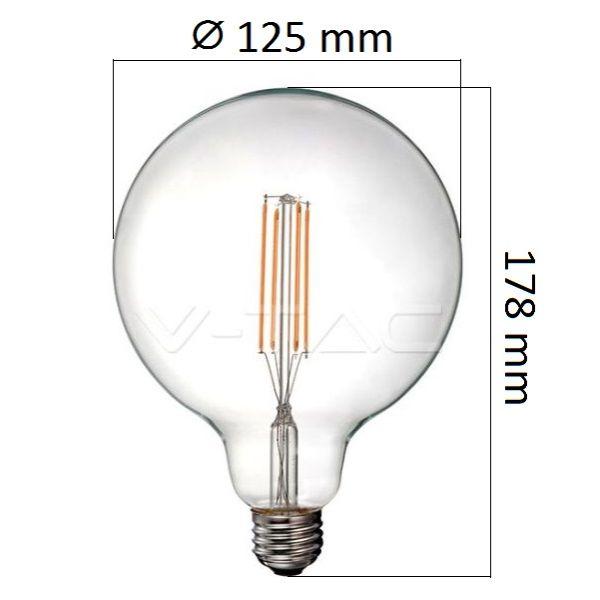 Retro LED žárovka E27 12,5W 1550lm G125, denní, filament, ekvivalent 100W