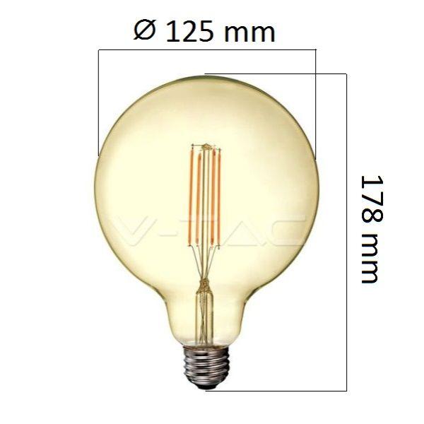 Retro LED žárovka E27 12,5W 1240lm G125 extra teplá, filament, ekvivalent 85W