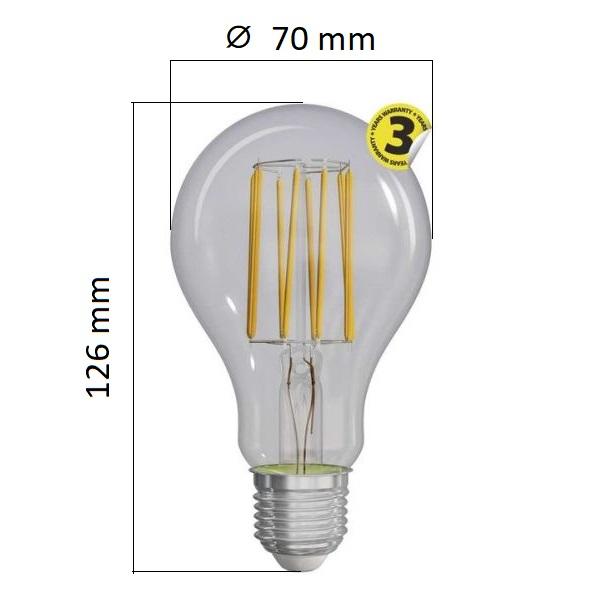 Retro LED žárovka E27 12W 1521lm teplá, filament, ekvivalent 100W