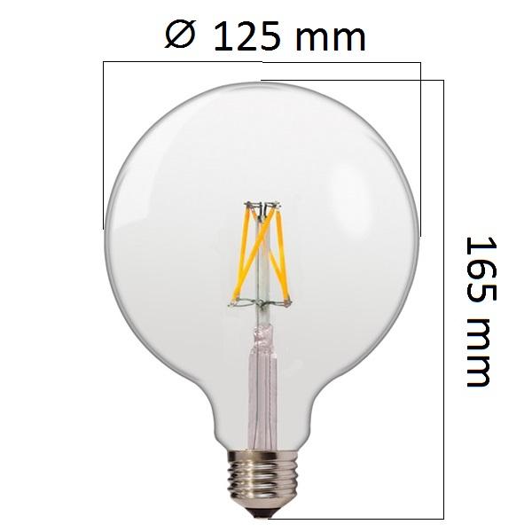 Retro LED žárovka E27 6,5W 810lm G125 teplá, filament, ekvivalent 50W