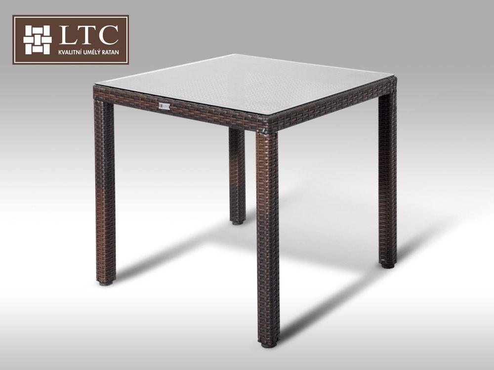 Umělý ratan - stůl Orlando 80x80 hnědý VZHLEDOVÉ VADY