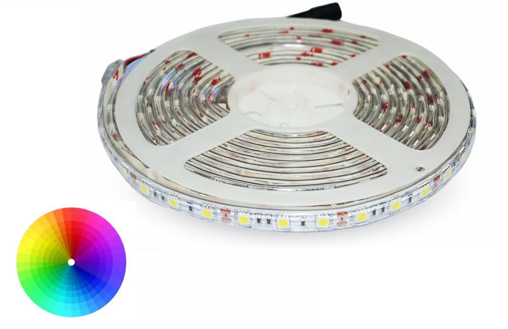 RGB LED pásek 60x5050 smd vícebarevný, 10,8W/m, voděodolný, délka 5m