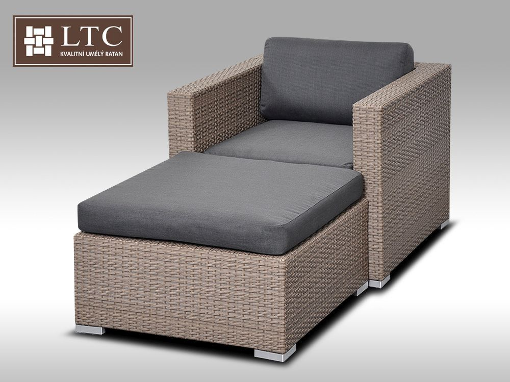 Umělý ratan - luxusní sedací souprava ALLEGRA I šedobéžová 1-2 osoby