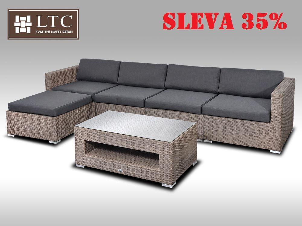 Luxusní rohová sedací souprava ALLEGRA IX šedobéžová 4-5 osob