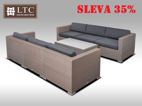 Umělý ratan - luxusní sedací souprava ALLEGRA VI šedobéžová 6 osob