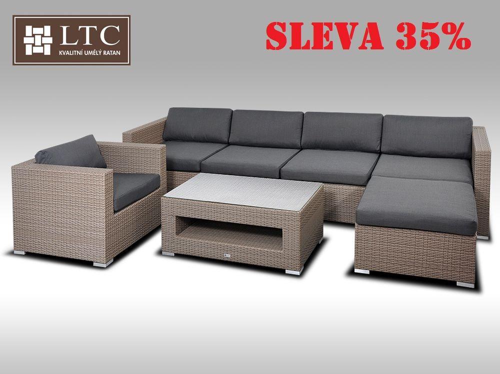 Luxusní rohová sedací souprava ALLEGRA X šedobéžová 5-6 osob