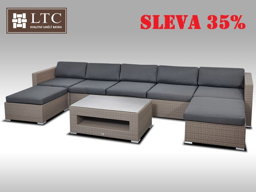 Luxusní rohová sedací souprava ALLEGRA XI šedobéžová 5-7 osob