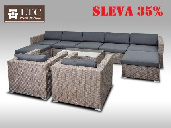 Luxusní rohová sedací souprava ALLEGRA XII šedobéžová 7-9 osob
